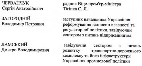 скан: Список учасників наради під головуванням Віце-прем'єр-міністра Сергія Тігіпка