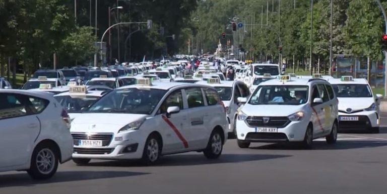 Тысячи водителей такси протестуют в Мадриде (Видео)