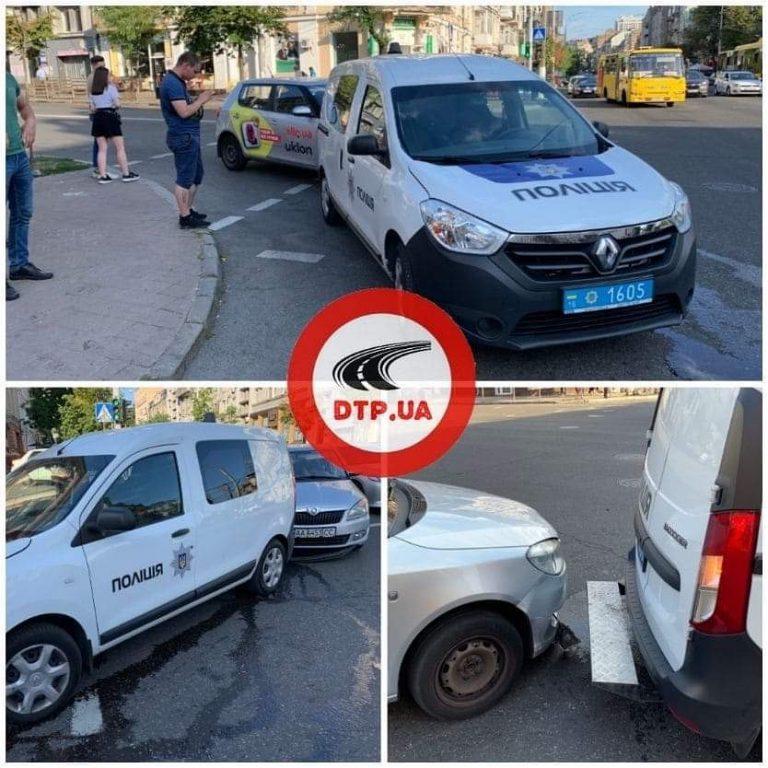 Водитель Uklon подбил автомобиль полиции, Киев, ДТП.