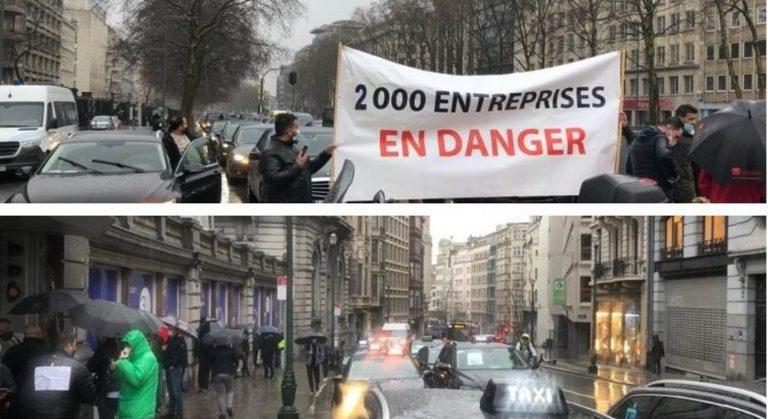 Такси против Uber: две акции проведены сегодня утром на улицах Брюсселя